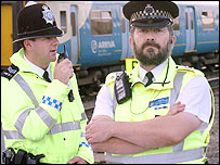 British Transport Police officers (picture: Arriva Trains Wales)