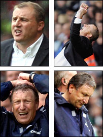 Wigan boss Paul Jewell (top) and Neil Warnock