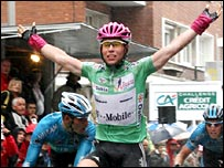 Mark Cavendish crosses the line to win the final stage in Dunkirk.