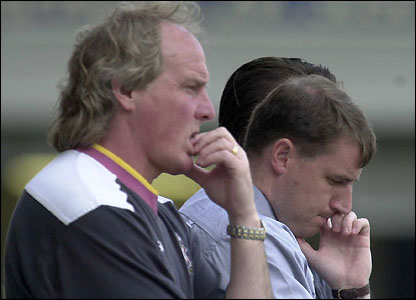 Jewell at Leicester with assistant Terry Yorath