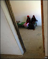 Two women wait at a cholera treatment centre, Mogadishu