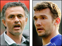 Jose Mourinho (left) and Andriy Shevchenko