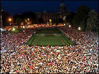 Fans gather to celebrate outside Belgrade City Hall
