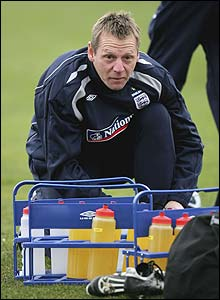 Pearce takes charge of an England U21 training session