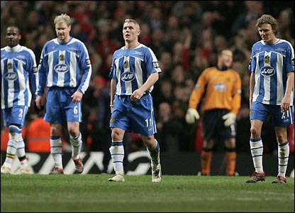 Wigan's players at the Millennium Stadium
