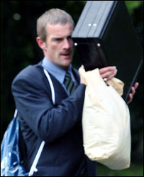 Richard Hill outside court