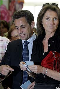 Nicolas and Cecilia Sarkozy vote together on 22 April during the first round of voting  in the French presidential election.