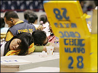 Election board members get some sleep at a canvassing centre in Manila - 15 May 2007