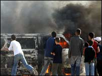 Vehicle burning in Gaza City