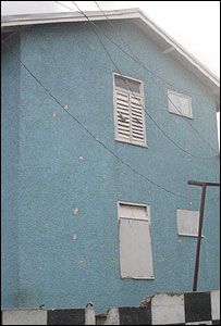 A bullet pocked house in Trench Town
