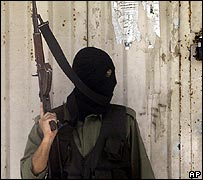 Masked pro-Fatah security force officer in Gaza City