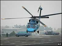 A Taiwanese Air Force medical helicopter takes off in Changhua, Taiwan
