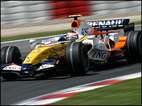 Heikki Kovalainen in his Renault during the Spanish Grand Prix