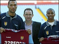 Ashley Young (r) and John Carew joined Villa in January