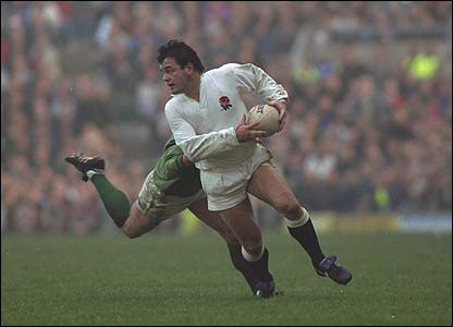 Will Carling of England dodges an Irish player in the England v Ireland match during the 1992 Five Nations Championships at Twickenham