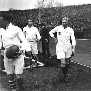 Former England captain Wavell Wakefield makes his final appearance for England in Paris in 1927