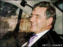 Gordon Brown leaves Downing Street after meeting with Tony Blair