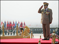 Burma's military leader Than Shwe at a parade in March 2007
