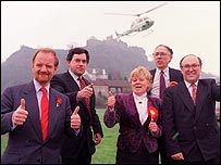 Robin Cook, Gordon Brown, Labour candidate Kate Phillips, Donald Dewar, John Smith in 1992