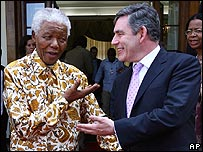 Nelson Mandela meets Gordon Brown