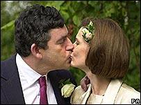 Gordon and Sarah Brown at their wedding