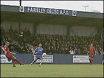 Farsley Celtic in action at their Throstle Nest ground