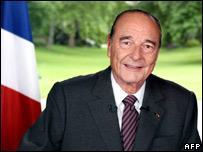 Outgoing French President Jacques Chirac