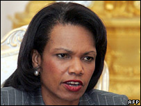 US Secretary of State Condoleezza Rice at a press conference in Moscow