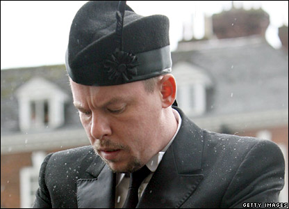 Designer Alexander McQueen at the funeral service of Isabella Blow