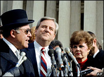 Jerry Falwell (centre) with his lawyer and wife outside the Supreme Court