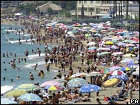 A crowded beach on the Costa Del Sol in Spain (file picture)