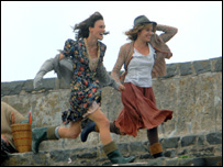 Sienna Miller (r) and Keira Knightley filming at New Quay (picture: Wales News Service)