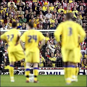 Disconsolate Southampton players