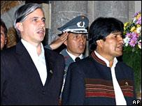 Álvaro García Linera (izq.), vicepresidente de Bolivia y Evo Morales, presidente