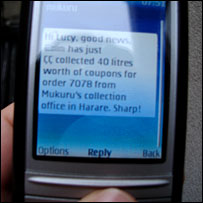 Mobile phone text message from Mukuru