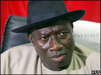Nigeria's Vice President-elect Goodluck Jonathan. File photo