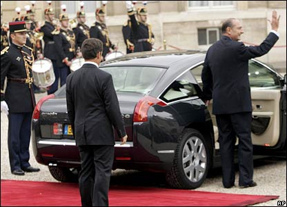 Jacques Chirac leaves the Elysee Palace