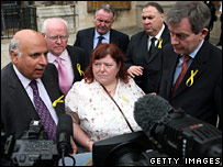 source: BBC/Getty webpic: Gerry's sister Philomena McCann with Labour MP's on 16-May-2007