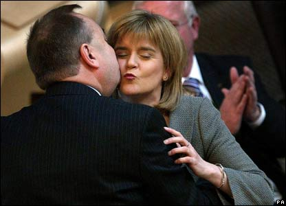 Alex Salmond celebrating with Nicola Sturgeon