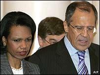 Secretaria de Estado de EE.UU., Condoleezza Rice y canciller ruso, Sergei Lavrov