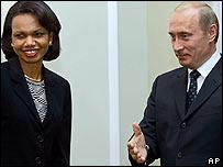 Secretaria de Estado de EE.UU., Condoleezza Rice y presidente ruso, Vladimir Putin