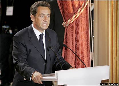 Nicolas Sarkozy during his inauguration speech