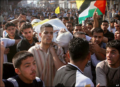 Funeral of Fatah gunman killed in violence, Deir El Balah refugee camp