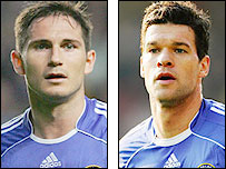 Chelsea midfielders Frank Lampard (left) and Michael Ballack