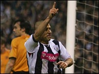 Kevin Phillips celebrates heading West Bromwich Albion in front