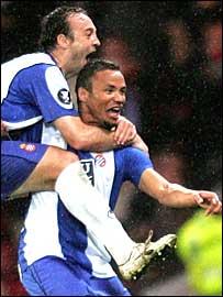 Jonatas celebrates Espanyol's late equaliser