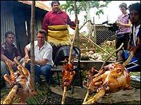 Stefan cooks piglet over an open fire