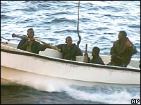 Somali pirates attacking the Seabourn Spirit