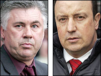 AC Milan manager Carlo Ancelotti (left) and Liverpool boss Rafael Benitez