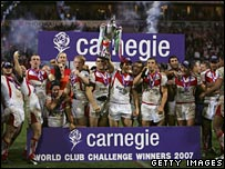St Helen's v Brisbane Broncos in the Carnegie World Club Challenge played in Bolton